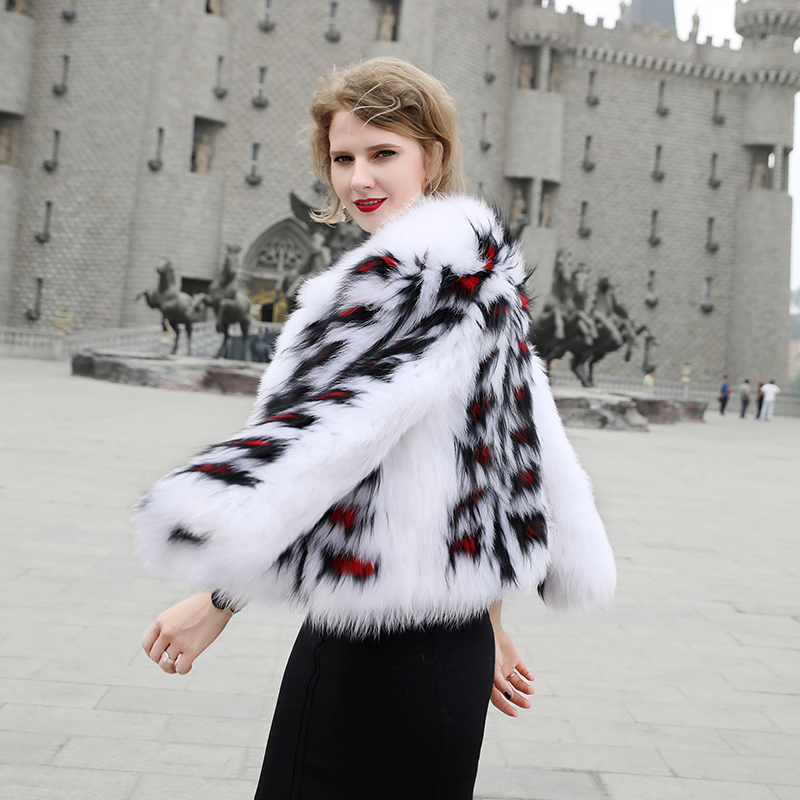 Nouvelle Motif Blanc Paragraphe Renard Court Manteaux Veste Mode Tricoté Fourrure De Col Femme Carré Rond Manteau q1f1Yrawx