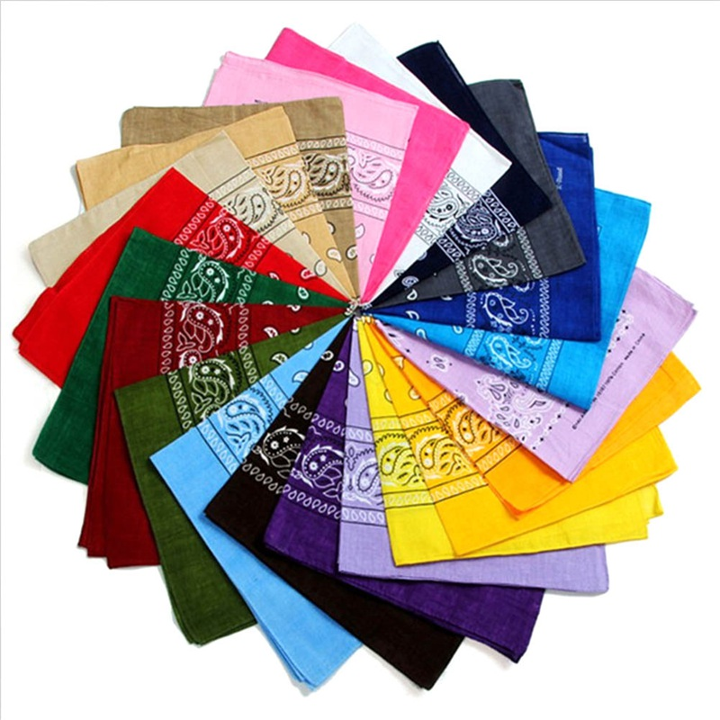 Polyester Cotton Cashew Flower Hip-hop Bandanas For Women Pocket Square Head Neck Scarf Wristband Handkerchief Men 12 Colors!!!!(China)