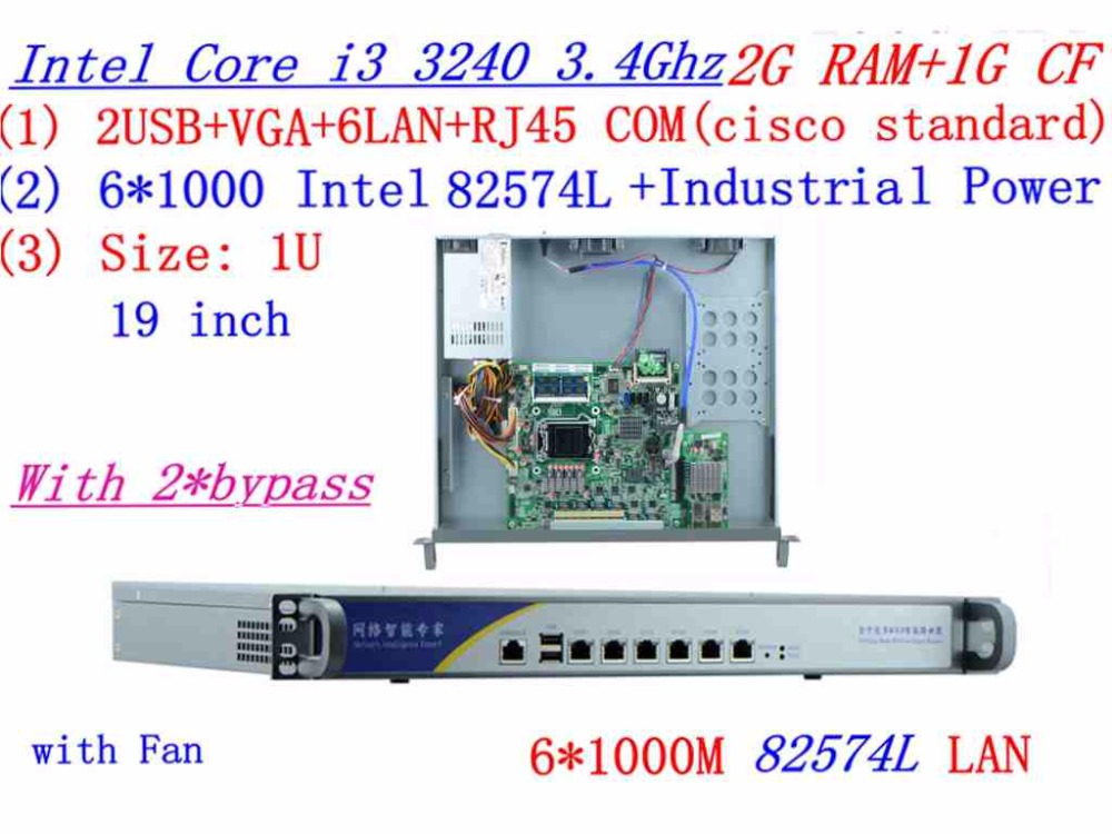 Industrial 1U Firewall Server Router 2G RAM 1G CF 2*bypass With 6*1000M INTEL 82574L Gigabit I3 3240 3.4Ghz Mikrotik PFSense ROS
