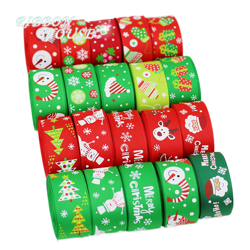 10 yards lot 1 quot 25mm Red and Green printed Cartoon Grosgrain Ribbon christmas gift ribbons in Ribbons from Home amp Garden