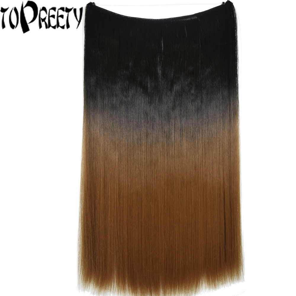 TOPREETY Heat Resistant Synthetic Hair Fiber 24 60cm 100gr Silky Straight Elasticity Wire Halo Hair Extension Ombre Colors