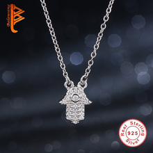 Actual 925 Sterling Silver Necklace CZ Diamond Palm Hamsa Pendant Necklace Austrian Crystal Evil Eye Necklace for Girls Jewellery