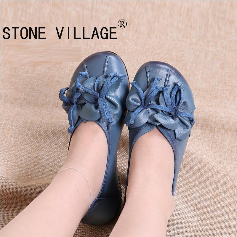 ФОТО New Arrival Original Vintage Handmade Leather Flat ShoesFlower Women Shoe Folk Style Leather Comfortable Soft Bottom Shoes