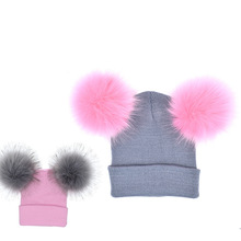 2 PCS/Set Baby Mom Hats Winter Warm Double Ball Raccoon Faux Fur Pompom Family Matching Hat Kids Knitted Beanies Freeshipping