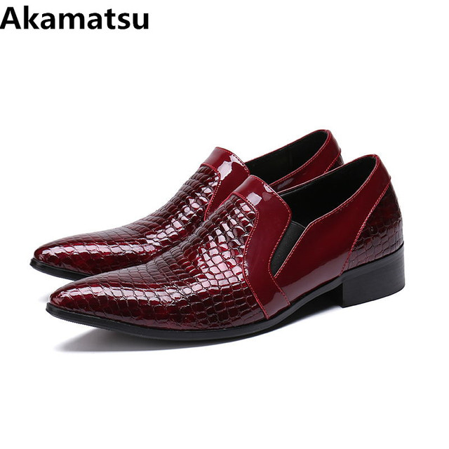 Classic pointed toe dress shoes men red wedding party loafers mens shoes  formal crocodile prom office shoes flats plus size a51959bbdc50