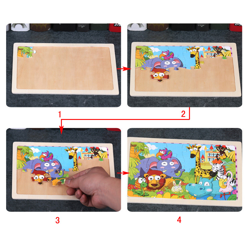 Montessori Toys for Children Early Educational Learning Wooden Toys Kids Exercise Brain 3D Cartoon Animal Match