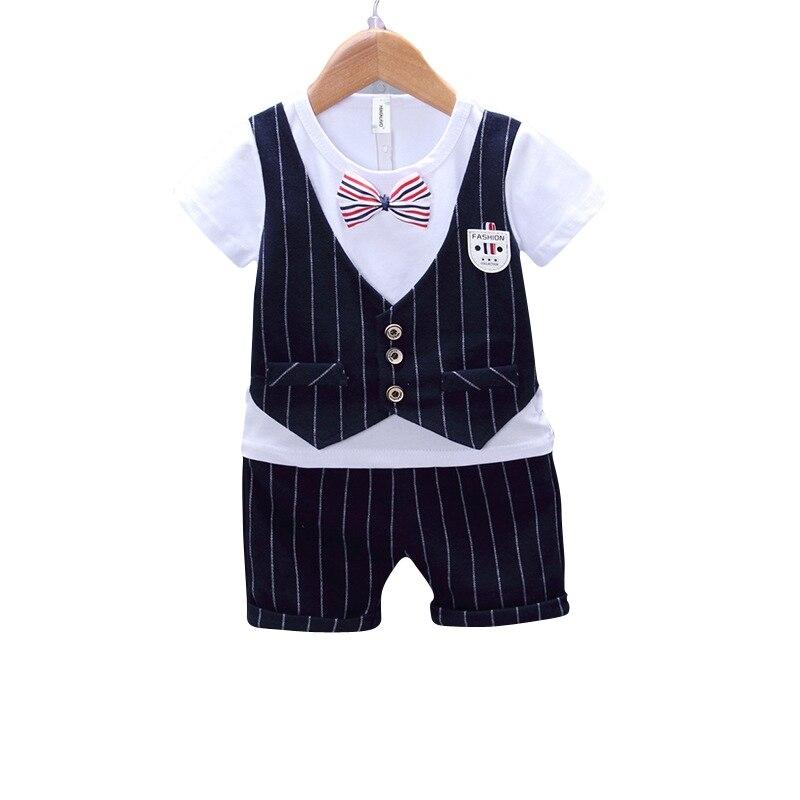 Рубашка в полоску с Шорты для женщин комплект одежды для маленьких мальчиков для Одежда для маленьких мальчиков Формальный Детский комплек...