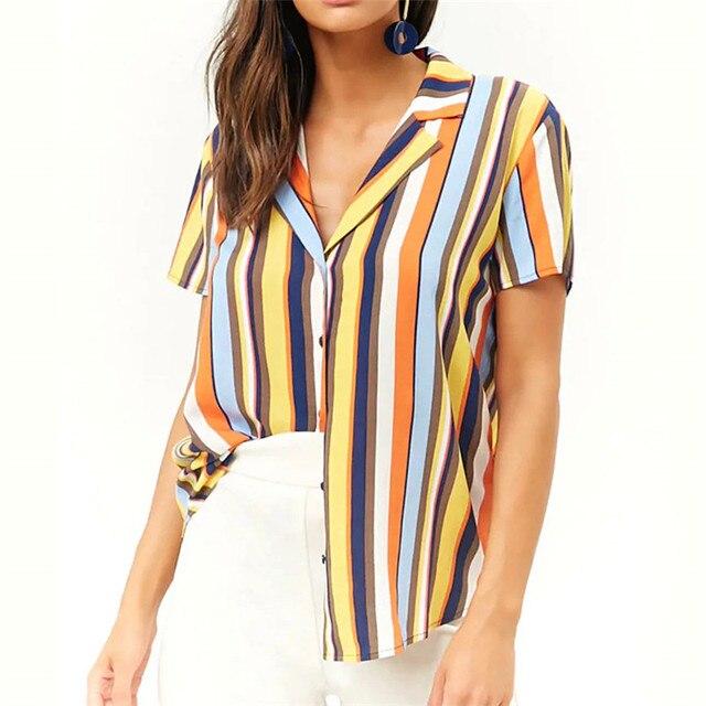 86091b32be3e Blouse Women 2019 Summer Casual Short Sleeve Blouses Turn-Down Office  Ladies Shirts Striped Chiffon Shirt Plus Size Tops Blusas
