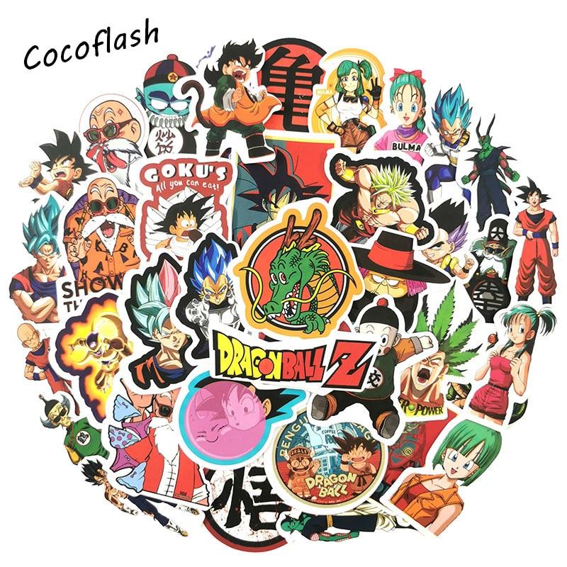 50PCS/lot Japan Anime Cartoon Dragon Ball Stickers For Moto Car & Suitcase Cool Laptop Stickers Skateboard Sticker Toys
