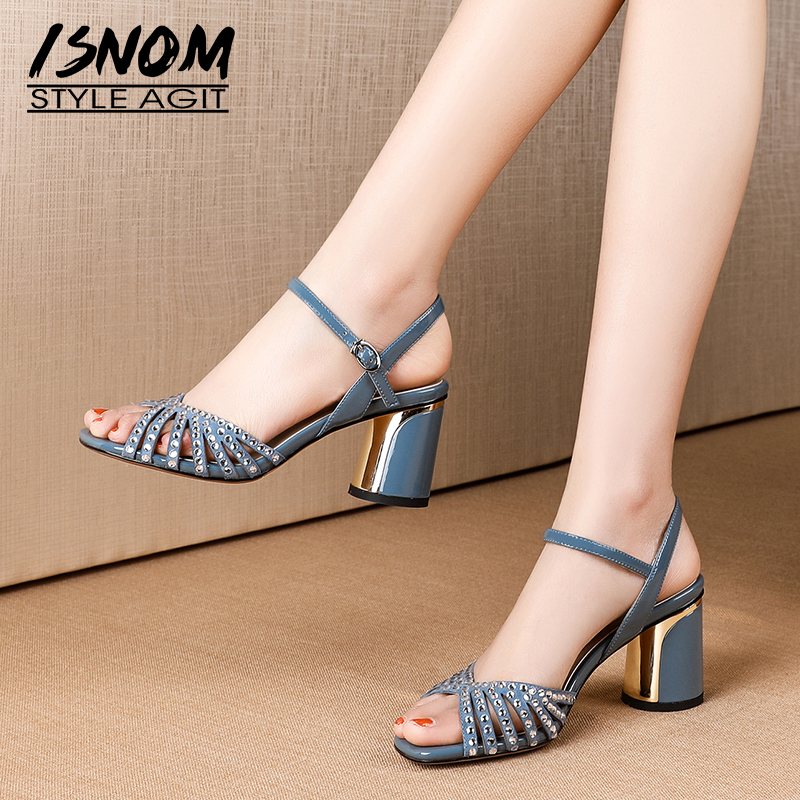 ISNOM Crystal Cow Leather Sandals Women Summer Sandals Round Heels High Shoes Female Fashion Office Strappy Shoes Ladies 2019