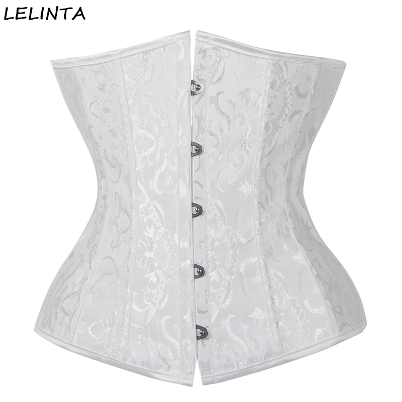 LELINTA Sexy Womens Lace up Boned Satin Jacquard Vintage Underbust Waist Trainer Gothic   Corsets   and   Bustiers   Steampunk Corselet