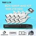 Wanlin 8ch1080p ahd kit com 8 pcs sony imx323 full hd 1080 p suporte de câmera p2p nuvem hdd