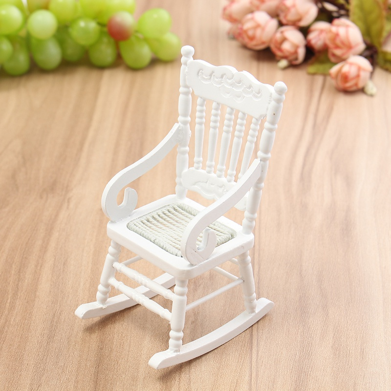 Kids Wood Rocking Chair Farmhouse Dining Mini 1 12 Dollhouse Miniature Furniture White Wooden Hemp Rope Seat For Home Gift Doll Toys Craft