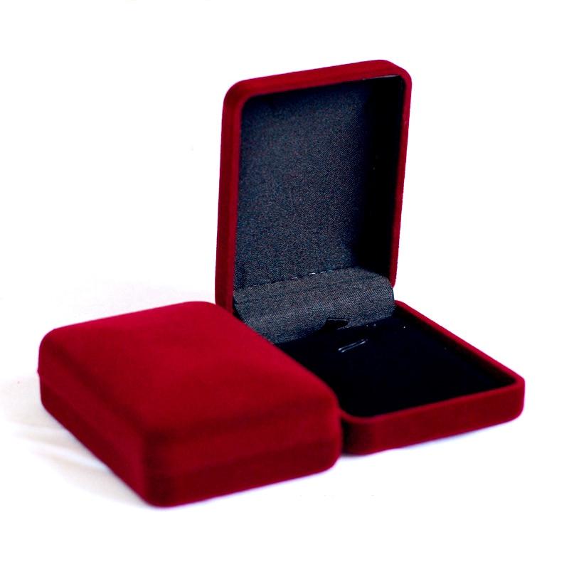 Sale Dark Red Velvet Bride Wedding Bride Jewelry Necklace Pendant Box Gift Colar Earrings Trinket Display Case Holder Organizer