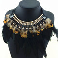 2015 Luxury Gorgeous Feather Statement Necklace High Quality Soft Precious Necklaces & Pendants Fake Collar Fashion Necklace