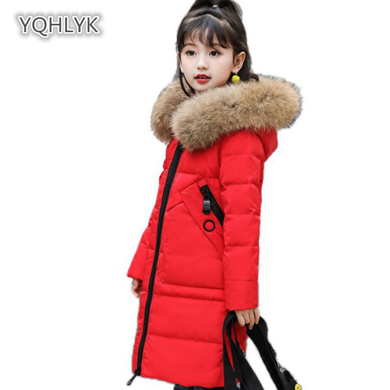 Children girls winter cotton coat fashion hooded warm girl down jacket thick Solid color girls long kids cotton coat LK031 children new winter girl coat fashion hooded warm down jacket thicken girl cotton long parkas coat cotton outerwear