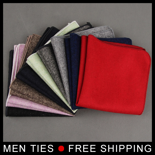 Men Formal Hankerchief Scarves Woolen Hankies Mens Pocket Square Business Handkerchiefs Solid Color 23*23cm