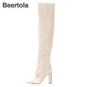 Женские модные ботинки, ботинки с закругленным носком на толстом каблуке 11 см, цвета: бежевый, без шнуровки, сапоги-ботфорты на весну-осень, г...