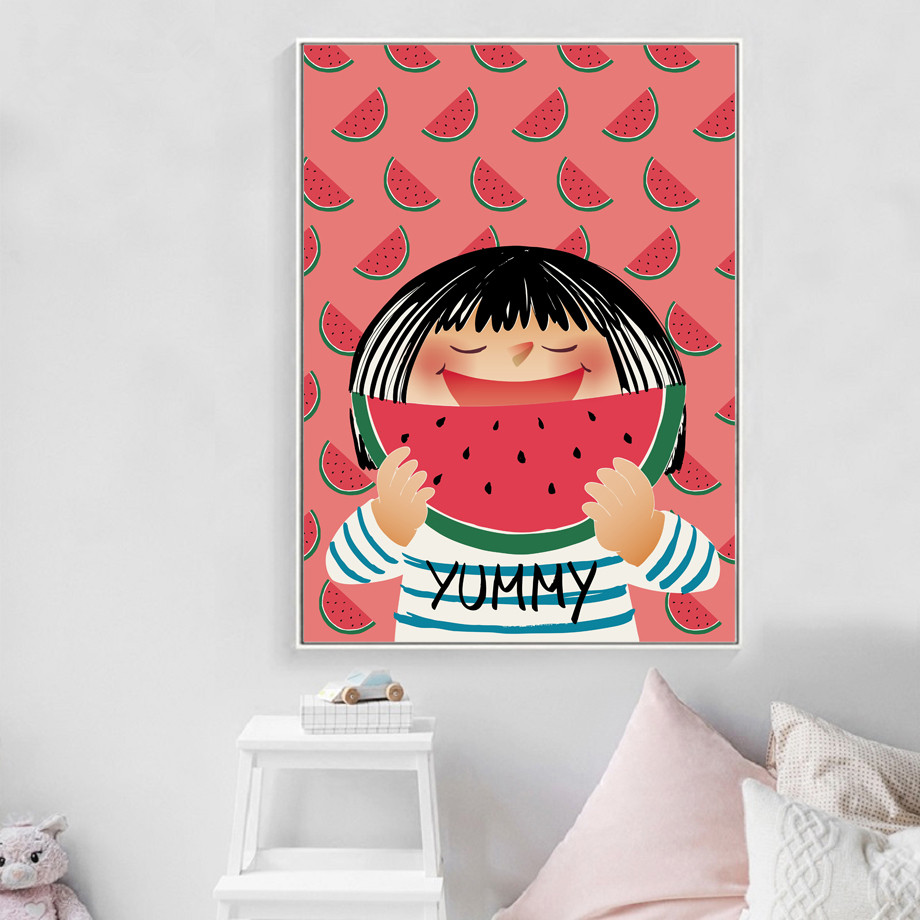 COLORFULBOY-Kawaii-Little-Girl-Watermelon-Wall-Art-Print-Canvas-Painting-Nordic-Poster-Pop-Art-Wall-Pictures (1)