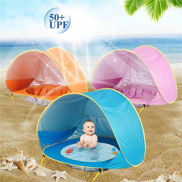 Детская Пляжная палатка, детская Водонепроницаемая всплывающая солнцезащитный тент, палатка с защитой от УФ-лучей, с бассейном, детский отк...