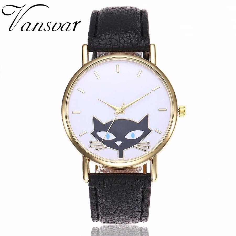 New Popular Vansvar Brand Lovely Cartoon Cat High-Quality Watch Casual Women Dress Leather Strap Quartz Watches Relogio Feminino