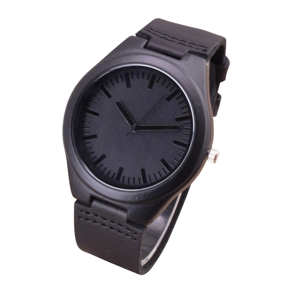 2018 Fashion Black Wood Watches With Real Leather Band Men's Top Brand Design Men Women Wooden Quartz Watches gift цена