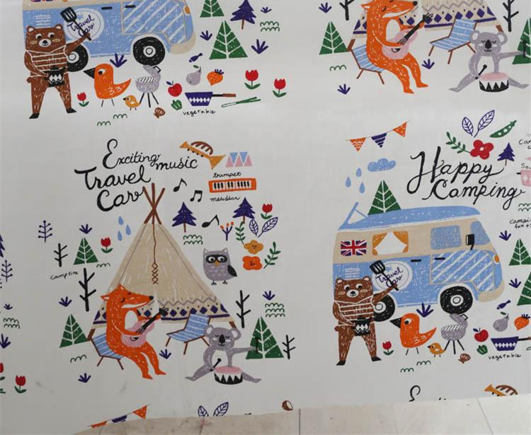 160cm 50cm fox picnic fabric cartoon cotton printed cotton for Cotton fabric for children s clothes
