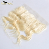 Ross Pretty Remy Brazilian Hair Body Wave Blonde Color Ear to Ear Lace Frontal Human Hair 613 Front 13x4 Middle and free part