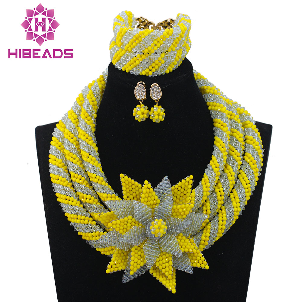 Popular Yellow African Beads Set Lilac Nigerian Inspired Jewelry Big Kniited Flower Brooch Pendant Necklace Set