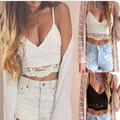2017 new tops Bandage spaghetti strap ladies camisole black white lace bralette sexy tank top women summer crop top beach wear