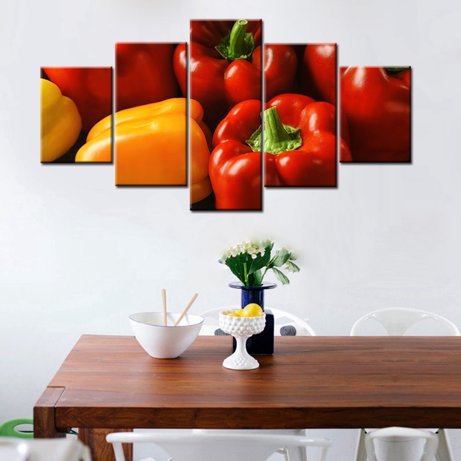 Fresh green pepper red pepper sweet pepper picture print for Red kitchen wall art