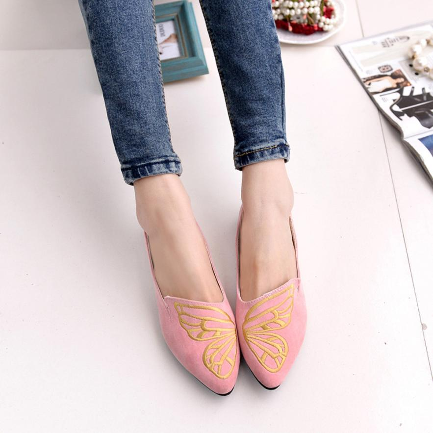 Women's Shoes Flats Leather Ladies Woman Slip-On Embroidery Butterfly Soft Low Heels Ballerina Spring Suede Casual Loafers 2018 women shoes slip on womens flats shoes loafers faux suede womens ballerina flats casual comfort ladies shoes plus size 35 43