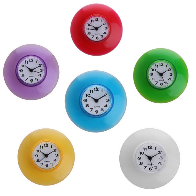 Waterproof Sucker Clock Kitchen Bathroom Bath Shower Clocks Suction Cup Sucker Wall Clocks Decoration