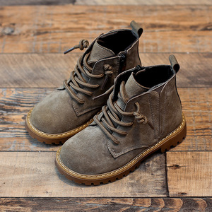 Image 2 - Winter Boys Girls Boots Genuine Leather Anti suede Martin Boots Side Zipper Retro Warm Cotton Boots