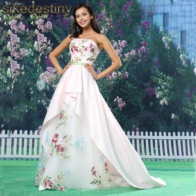 Sikedstiny 2018 Satin Long Strapless Lace Up Floral Print Wedding