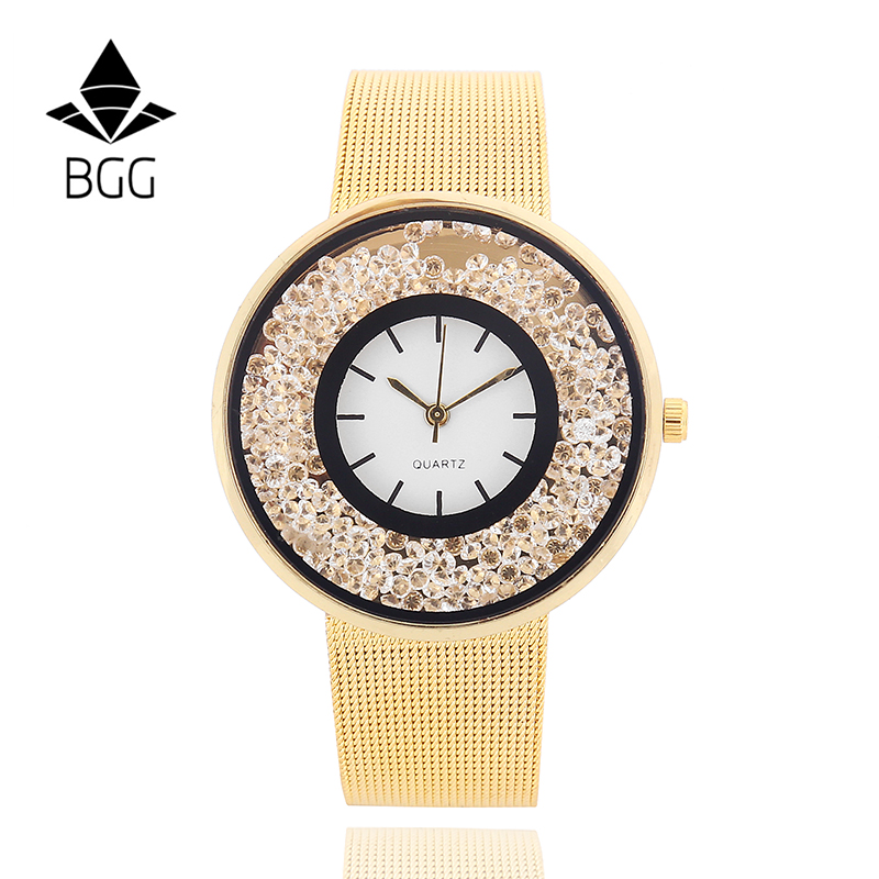 Luxury Golden Mesh Wristwatch New Fashion Brand Analog Quartz Watch Women Steel Casual Watch Moving Beads Crystal Dress clock luxury golden mesh wristwatch new fashion analog quartz watch women steel gold casual watch ladies simple dress clock hours