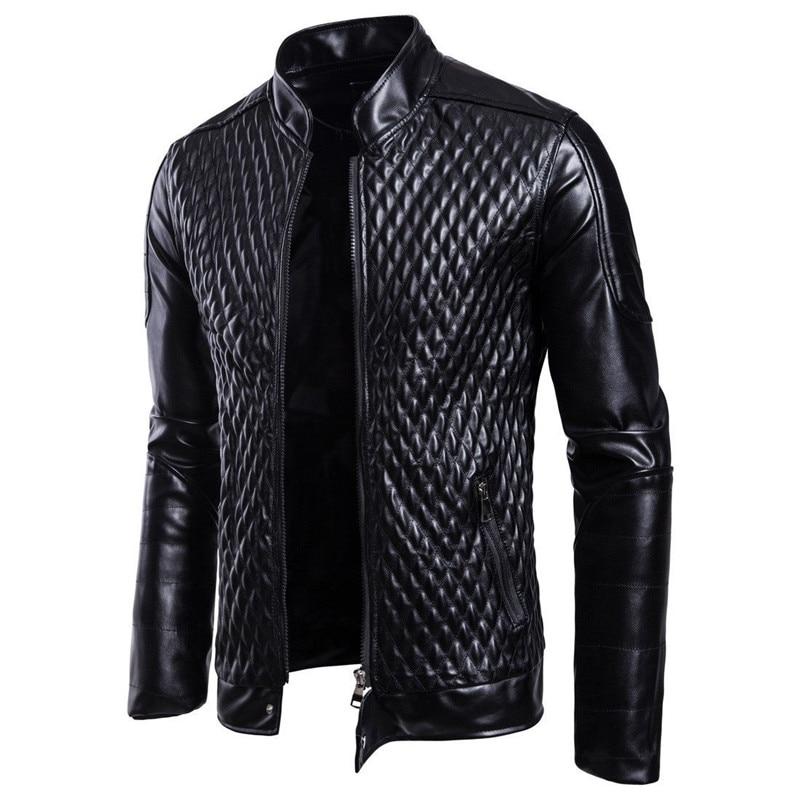 Новинка 2018, мужское крутое приталенное кожаное пальто со стоячим воротником, Мужская трендовая куртка в стиле ретро, мужская кожаная куртка на весну и осень, верхняя одежда|Куртки|   | АлиЭкспресс