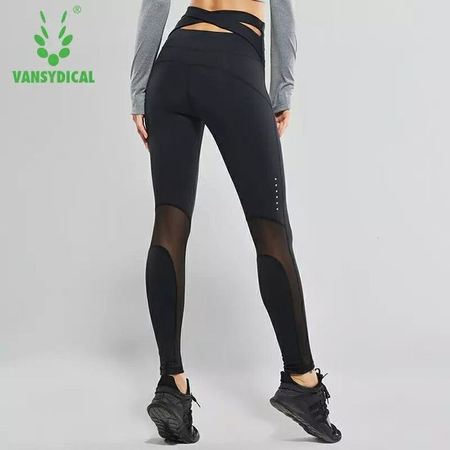 72527e8d7368d High-waist Yoga Pants Women's Fitness tights Sports Leggings Sexy Mesh  Cross Belt Running Tights Training Jogging Gym Sport Pant