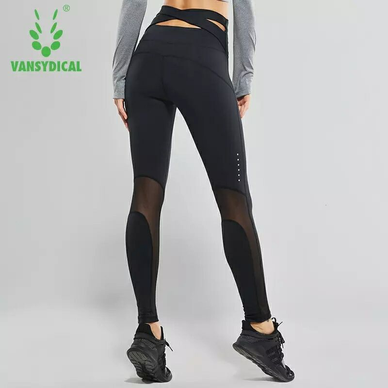 High-waist Yoga Pants Womens Fitness tights Sports Leggings Sexy Mesh Cross Belt Running Tights Training Jogging Gym Sport Pant