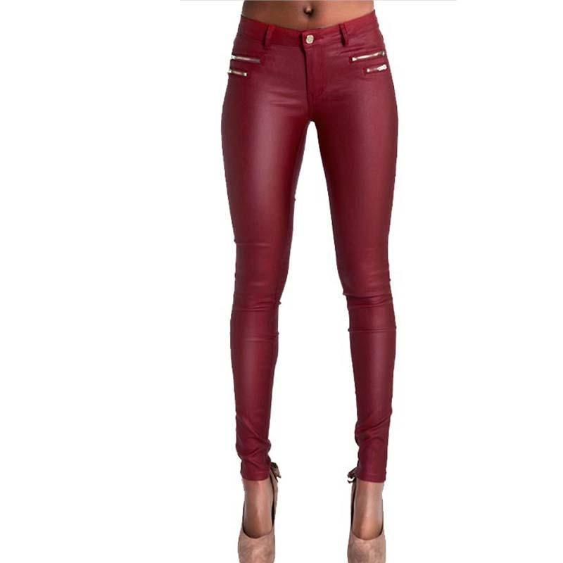 HMCHIME Women PU imitation leather denim pant package hip high quality fashion all match elastic <font><b>red</b></font> color coated <font><b>jeans</b></font> HM436