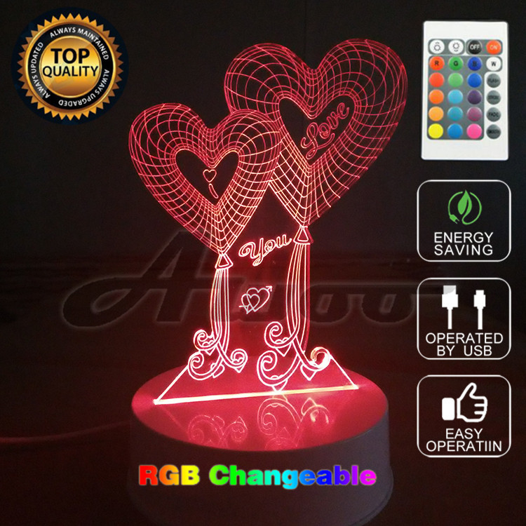 Valentines Day Gift 3D Lamp LED Night Light 7 Colors Table Lampe Deco Bulb Touch Sensor Luminarias Fixtures with Remote Control remote control led light creative monje smart air purifier wireless night lights sensor lamps gift table desk lamp
