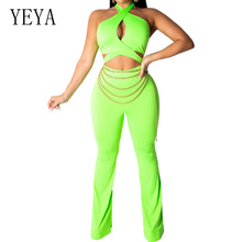 YEYA Sexy Summer Women Hollow Out Playsuit Fluorescent Green Cross Halter Wrapped Chest Jumpsuit Elegant Bodysuit Overalls