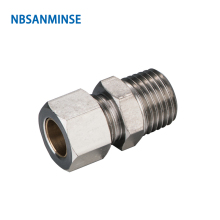 10pcs/lot KC 1/8 1/4 3/8 1/2 Connector Pneumatic Compression Brass Fitting R Thread Parts Tube Air Sanmin