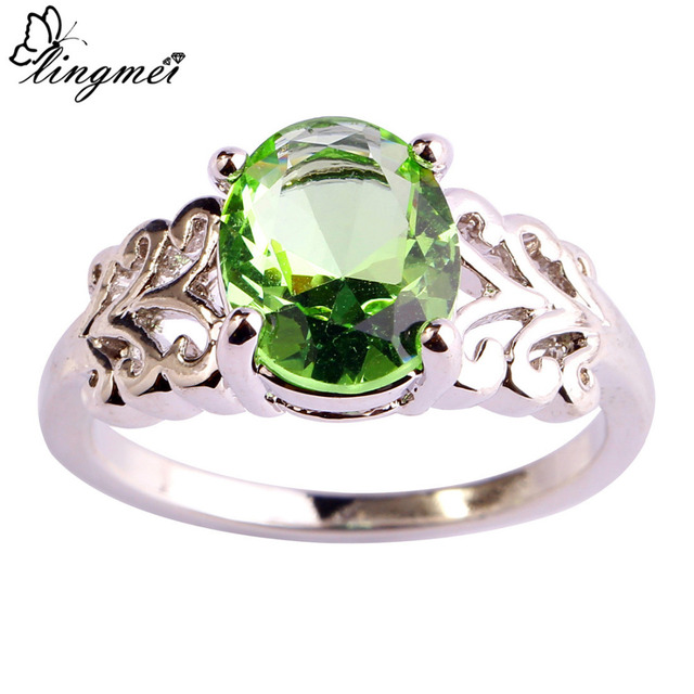 lingmei $0.99 Big Promotion Oval Cut Great Green Purple Silver Color Ring Size 6