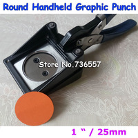 NEW Hand Held Manual Round 1 25mm Paper Graphic Punch Die Cutter For Pro Button Maker