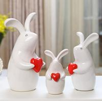 Nordic minimalist white couple easter rabbit figurines love heart family home room decorations furnishings animal bunny crafts