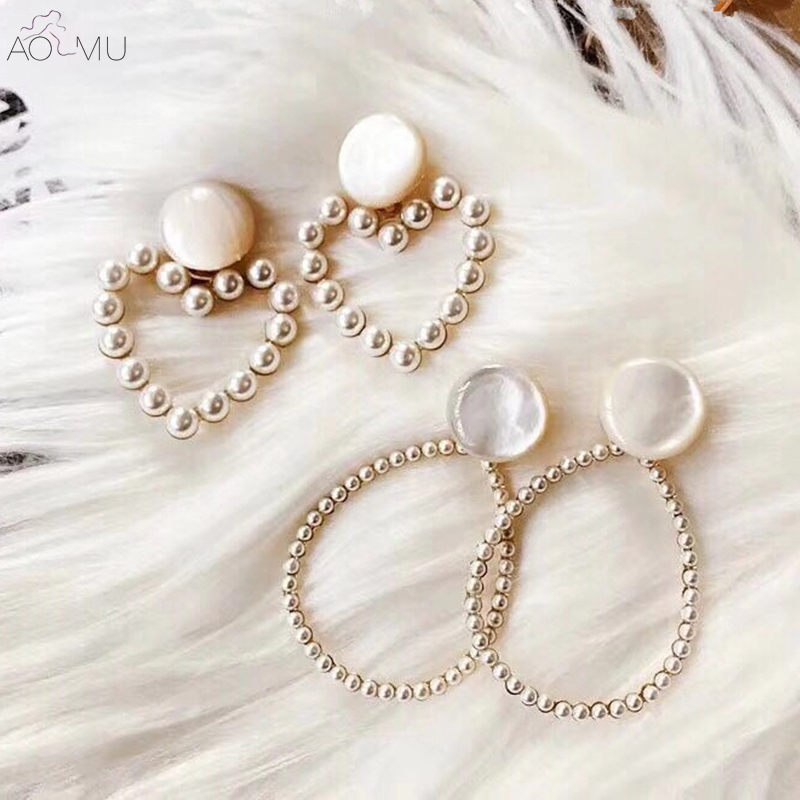 US $2.4 14% OFF|AOMU New S925 Sterling Silver Pin Love Heart Pearl Beads Oval Round Circle Opal Stone Dangle Earrings for Women Girl Wedding -in Drop Earrings from Jewelry & Accessories on Aliexpress.com | Alibaba Group