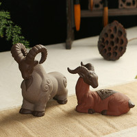 T Genuine Home Decoration Purple Sand Tea Pet Ornaments Male Female Sheep Blessing Tea Room Ceramic
