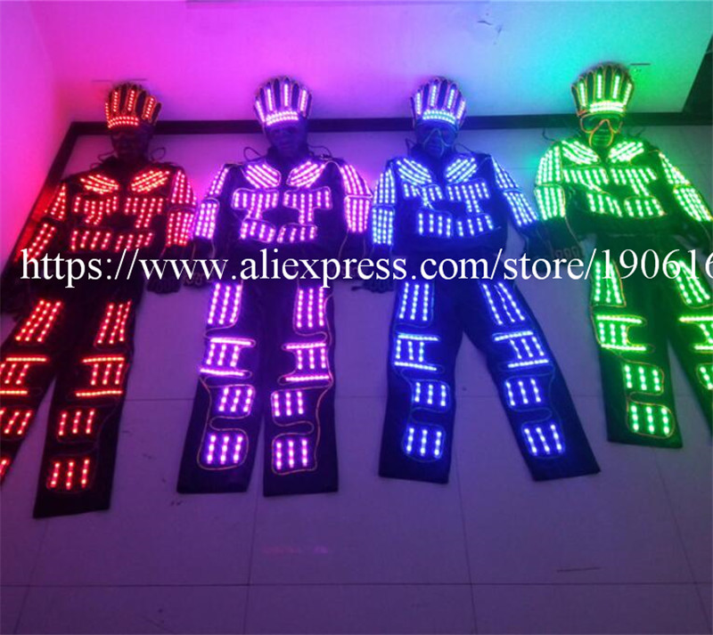 RGB Colorful led Robot Suit EL Cold Wire Super Bright Light Party Costume With Party Mask Luminous Stage Performance Dance Wear
