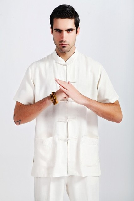 Beige Fashion Tradition Chinese Men's Linen Kung-Fu Shirt with Pocket M L XL XXL XXXL Free Shipping 2350-1